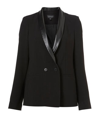 Topshop Leather Trim Tux Jacket