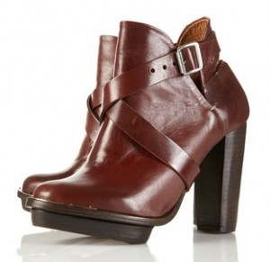 Topshop Portabello tan strap boots