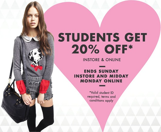 Students: get 20% off at Topshop!