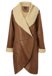 Topshop bonded faux sheepskin coat