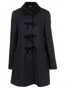 Topshop swing velvet bow coat