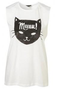 Topshop cat meow Tshirt