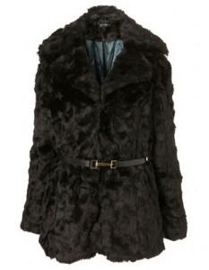Topshop faux fur belted coat