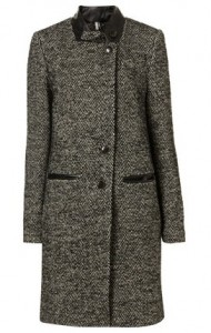 Topshop leather trim boyfriend coat