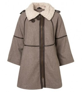 Topshop oatmeal Borg collared cape