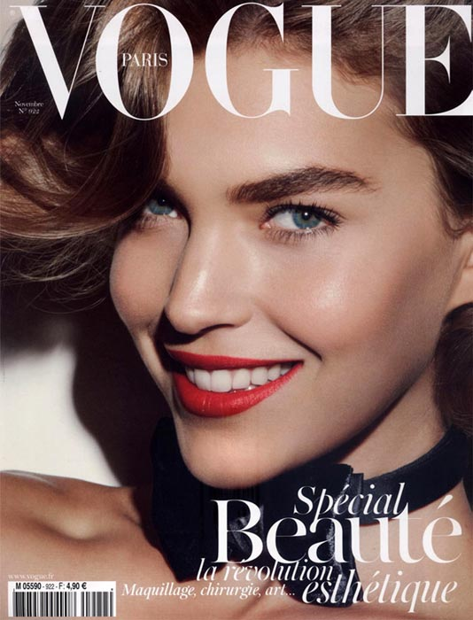 Arizona Muse covers French Vogue wearing just a bow tie…