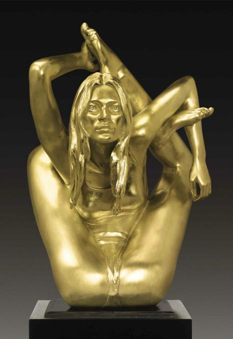 kate moss solid gold statue contortion yoga pose