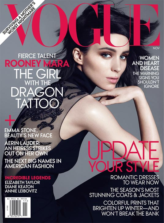The Girl with the Dragon Tattoo star Rooney Mara stuns on November's Vogue