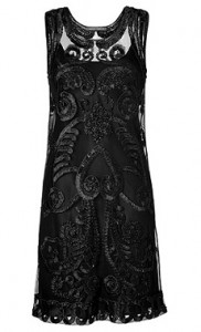 Alberta Ferretti black embroidered tulle dress