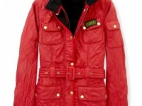 Barbour red international polar quilted jacket