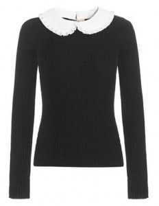 Boutique by Jaeger white collar wool rib jumper