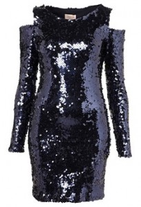 Dress Up Topshop cut out shoulder sequin dress