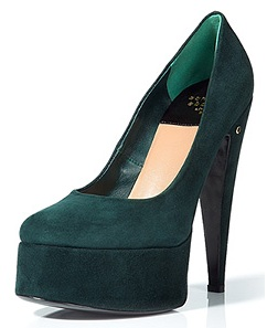 Laurence Decade bottle green suede platforms