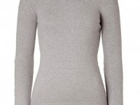 Maje light grey sweater with removable riveted collar