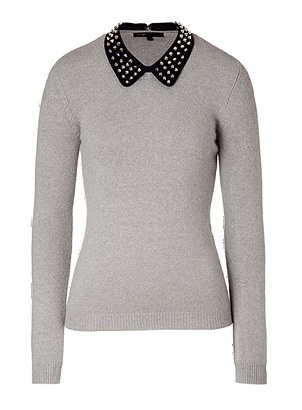 Lunchtime buy: Maje light grey sweater with removable riveted collar