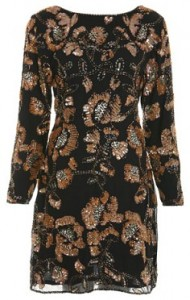 Miss Selfridge black floral embellished dress