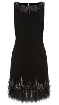 Oasis feather embellished shift dress