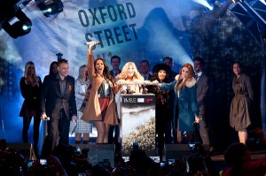 "© Neil Hall. 01/11/2011. London, UK. On Tuesday, 1 November at 6.18pm, the world-famous Oxford Street Christmas lights were switched on in front of Marks & SpencerÕs Marble Arch store by chart topping girl-group, The Saturdays (Una Healy, Mollie King, Vanessa White, Rochelle Wiseman). Following in the footsteps of Leona Lewis, Westlife, The Sugababes and the Spice Girls, 10,000 West End shoppers descended onto Oxford Street to watch Christmas officially unveiled in the West End, which historically takes over one billion pounds in sales during the Christmas shopping season.Despite decorations being on sale across London since July, the festive season only really kicks off when the world famous Oxford Street Christmas Lights are turned on. An event now in its 52nd year, and funded by over 200 Oxford Street retailers, the switch-on was presented by Heart 106.2Õs Toby Anstis. A whole raft of entertainment included performances from sister-duo, The Pierces, and the cast of GHOST The Musical. Jace Tyrrell of New West End Company the organisers of the event says, ÒThe countdown is on and with 54 shopping days until Christmas day. Oxford Street is set attract millions of visitors over the next eight weeks and the 200 flagship stores will be pulling out all the stops to ensure that visitors get the most out of their time in the West End."" This year's mile long scheme has been designed and installed by Piggots, a 200-year old British company that has been providing innovative street decorations to the West End since the 1950Õs. Including ten shooting stars, the scheme is made up of 210,000 carbon neutral LED bulbs which use75% less energy than conventional bulbs.Steve Rowe, Director of Retail M&S, says, ÒTurning on the Oxford Street Christmas Lights marks the start of the festive season, and M&S was really proud to be hosting this yearÕs celebrations Ð itÕs been a spectacular experience.ÒMollie King of The Saturdays, says; ""For us Christmas is all about shopping on Oxford Street. This is such an exciting event for us to be part of!""Cllr Colin Barrow, Westminster City Council Leader, says: ÒWe are delighted to be a big supporter in getting this seasonal tourist attraction up and running every year. Business in the capital always benefits from an influx of tourists and keen shoppers who are eager to get into the Christmas spirit Ð and we hope this year will be no different.ÒWestminster council is committed to ensuring that businesses can get the best out of the city and, importantly, out of its millions of visitors"