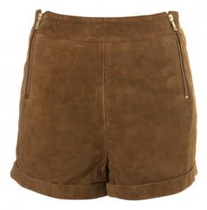 Premium Topshop suede zip shorts