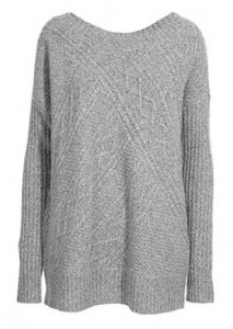 Reiss Whisper cable panel scoop neck knit
