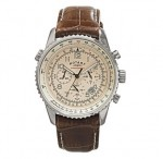 Rotary cream dial brown leather chronograph watch