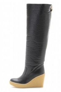 Stella McCartney faux leather knee high boots shearling