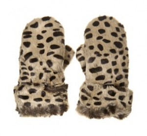 Topshop Dalmatian print faux fur mittens