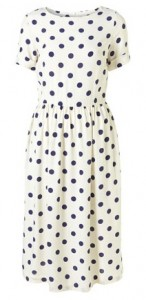 Topshop cream spot midi dress