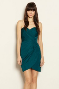 Warehouse bandeau pleat side dress