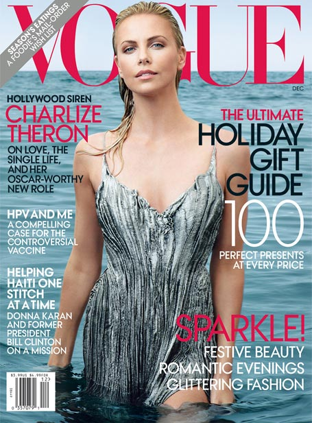 Charlize Theron poses for Annie Leibovitz for December's US Vogue