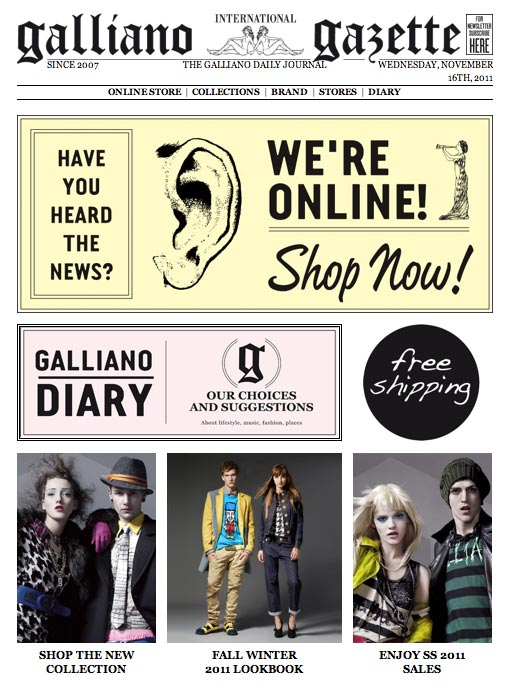 john galliano online store galliano gazette