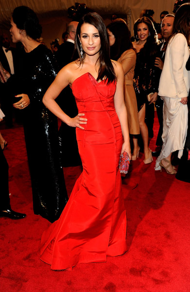 lea michele met gala escada red dress auction peta charity
