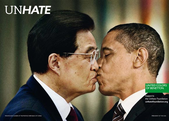 SEE Barack Obama kiss Hugo Chavez and Hu Jintao in controversial new Benetton campaigns