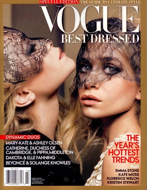 mary-kate and ashley olsen twins vogue best dressed magazine cover 2011
