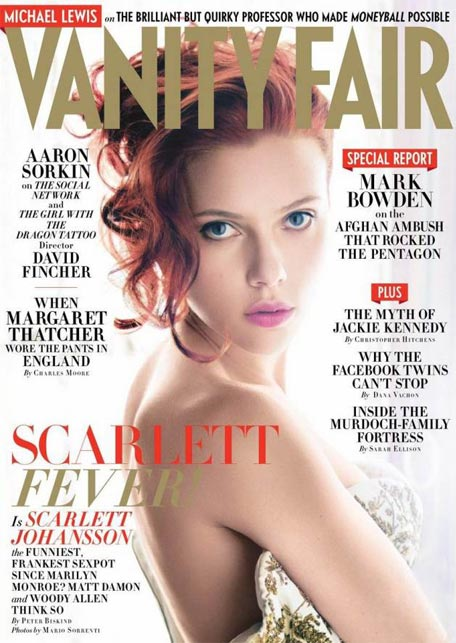 Scarlett Johansson is red hot in December's Vanity Fair