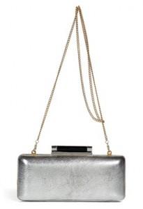 DVF silver metallic Tonda clutch