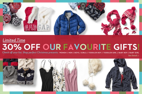 Day 8: Get 30% off Favourite Gifts at Gap!