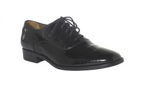 Hobbs Black Patent Croc Print Brogues RRP £149 Outlet £99