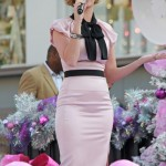 Katy Perry looks demure in Moschino