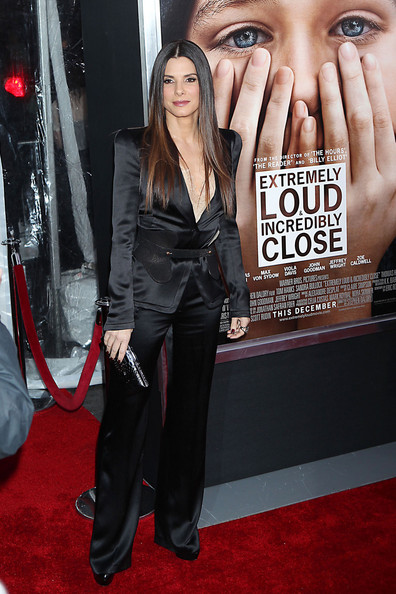Sandra Bullock suits up in Alexander McQueen