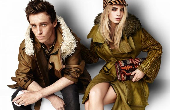Cara Delevingne and Eddie Redmayne for Burberry Prorsum spring/summer 2012