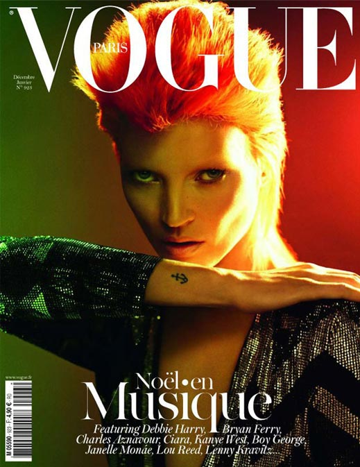 Kate Moss channels Ziggy Stardust on December's Vogue Paris cover