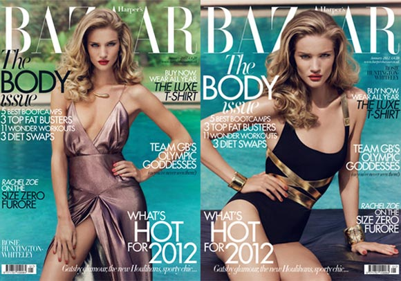Rosie Huntington-Whiteley has two smouldering covers for the UK Harper's Bazaar January 'body issue'