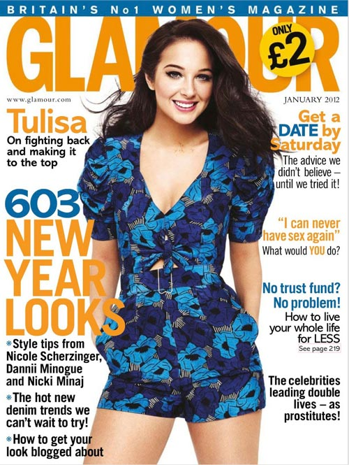 X Factor's Tulisa Contostavlos is all smiles for Glamour's January 2012 issue