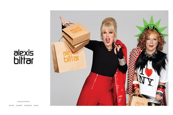 Ab Fab's Patsy and Edina for Alexis Bittar's autumn/winter 2012 ad campaign