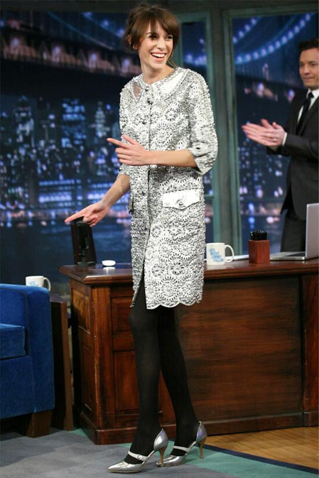 Alexa Chung wears a Marc Jacobs coat as a dress on Jimmy Fallon