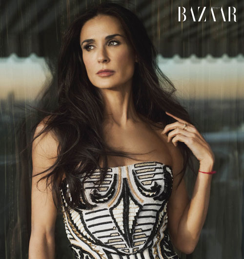 Demi Moore shows Ashton Kutcher what he's missing in February's Harper's Bazaar