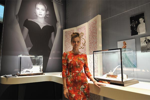 Eva Herzigova presents Montblanc's 'Collection Princesse Grace de Monaco' jewellery collection in Geneva