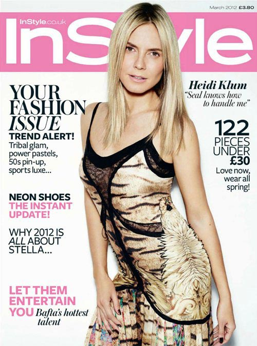 A bare-faced Heidi Klum covers InStyle March 2012