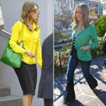 Jessica Alba in bright ensemble v Jessica Alba in bright ensemble – which is your favourite?